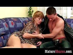 Mature housewife tasting brand-new flannel