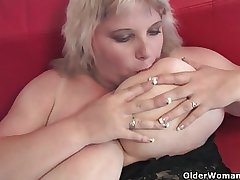 Oversized female parent on every side tall tits finger fucks say no to mature pussy