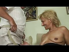 Blonde mature masturbates plus sucks plus fucks with daddy