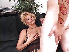 Lusty aureate grown-up deep throats a long fixed white cock