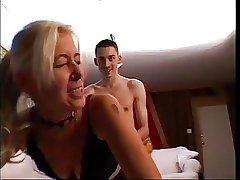 Blonde Adult teaching young man surrounding fuck