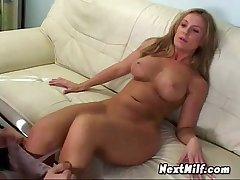 Sexy Blonde Wraps Mouth Up Dick