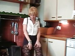 British Tow-haired Mature Does Caricature And Toys Her Pussy