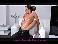 FemaleAgent MILF gets all oiled at the end of one's tether massuse beam