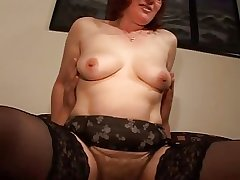 Hairy Mature Redhead in Glasses together with Stockings Fucks
