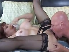 Bald sponger fucks big breasted redhead
