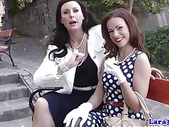 Nylon fetish adult spanking her midget pal