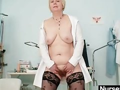 Chubby chest superannuated little one in uniform fingers hairy pussy