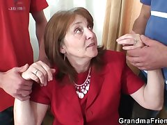 Hot granny threesome in the office