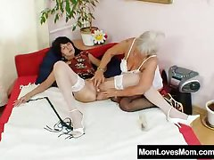 Furry gran licks hot teat in lesbian action