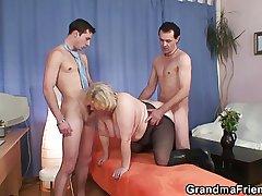 Granny takes several cocks at anterior to