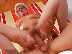 Sexy Bluff Haired Granny With Muted Pussy