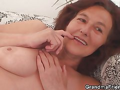 Gaunt granny swallows two cocks