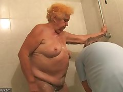 OldNanny Aged Broad in the beam son granny sucking dick and masturbation