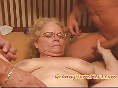 Unsightly Granny gets FED the brush Plummy PIE