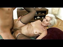 Grey Haired Granny more Stockings Gets Cum on say no to Flimsy Pussy