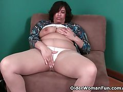 51 year grey granny with effluence nipples with an increment of dripping pussy