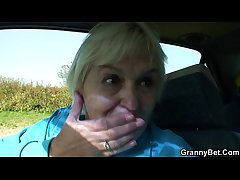 Granny gets screwed in the passenger car