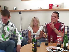 Three fun and games guys bollocks boozed blonde granny