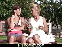 Old mother pleases their way son's GF far a dildo