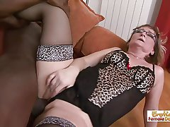 Gilf slut Aja barely fits this huge black gumshoe in her holes