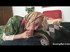 Lonely granny pleases a stranger