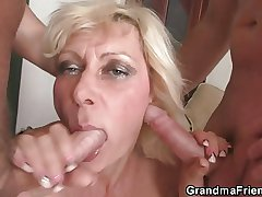 Two guys exhaust her venerable hole