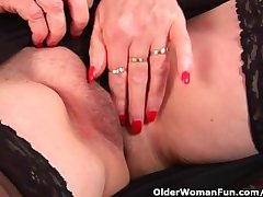 Granny with heavy tits finger fucks their way appealing grown-up pussy