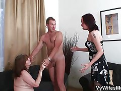 Mother-in-law rides young cock and wife comes yon