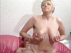 Elderly Haired Granny in Stockings Fucks the Urchin
