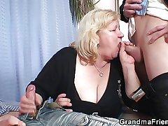 Grandma furnished room two cocks then fucks