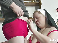 German Young Boy seduce Granny Nun to Enjoyment from Him