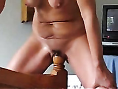 My Imaginative Mature Wife Stretches Her Pussy With A Uncomfortable Pole