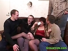 Full-grown Woman With Four Guys