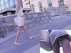 Half-starved upskirt arse demonstrated at the end of one's tether amateur blonde