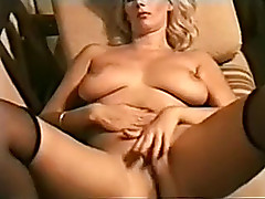 My sexually lascivious golden-haired wife on the chaise longue masturbating in unassisted