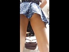 Upskirt Blond girl Silver thong (W Face)