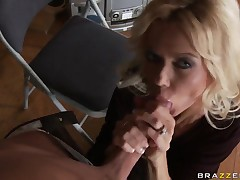 Dance lessons turn into long dick sucking by milf blonde Barbi Sinclair