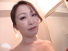 Mature Asian Pulchritude Gives A Point Of View BJ Onto Her Knees In The Bathroom