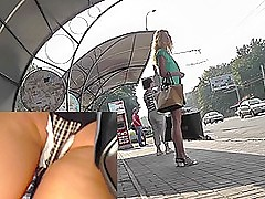 Blonde waits for a bus in an obstacle upskirt outdoor scene
