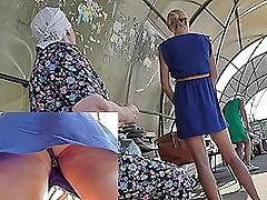 Sexy blonde in downcast dress in chum around with annoy upskirt voyeur video