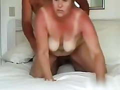 Wife acquires fucked hard from behind with priceless tit action and cum shot at