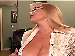 Playful blonde cougar teases me with her beamy natural jugs