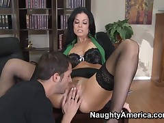 Seem like make the beast with two backs be useful to chic milf India Summer in fancy black stockings and Skean Slater