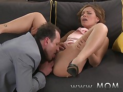 MOM Brunette MILF gets fucked before date night into fragments