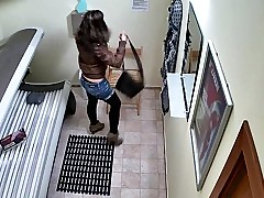 Hidden Cam Young Girl is Affective her Pussy in Solarium