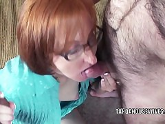 Redhead housewife Layla Redd is blowing 2 mates