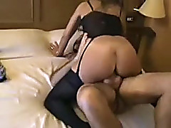 Stout in back mother rides my hard shlong in a cowgirl position