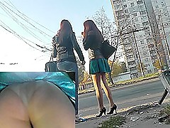 Couple of ardent girls participates concerning upskirt videos