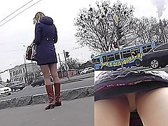 It's cold doused but this blonde babe gets upskirted